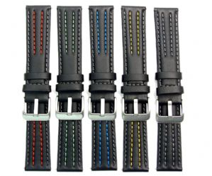 PRISM Calf Leather Watch Strap Coloured Contrast Stitching 18mm 20mm 22mm C063